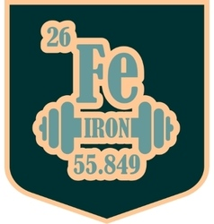 Shield with iron text and gym equipment vector