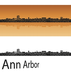 Ann Arbor skyline in orange background vector image vector image