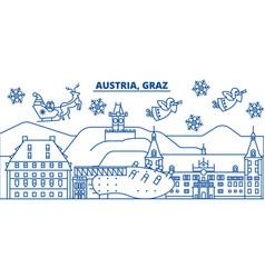 austria graz winter city skyline merry christmas vector image