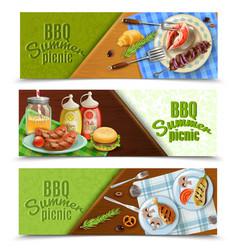 Bbq summer picnic banners set vector