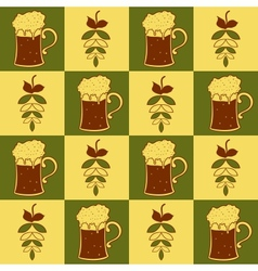 Beer mugs and hop seamless pattern vector