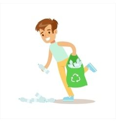 Boy picking up recycle plastic bottles helping in vector
