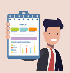 Businessman or manage keep in hands clipboard for vector