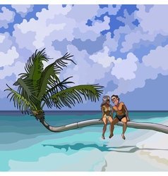 cartoon couple in love sitting on a palm tree vector image vector image