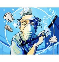 cartoon man dentist with a drill in his hand vector image