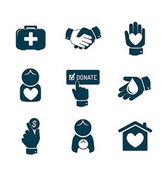 Charity and donation icons set vector image vector image