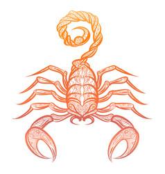 Colorful ornate zodiac sign scorpio vector