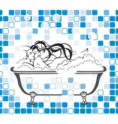 Cute couple taking bubble bath in bathtub vector