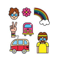 cute hippie man with important tools vector image vector image