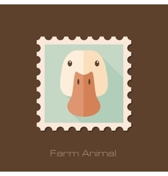Duck flat stamp Animal head vector image vector image