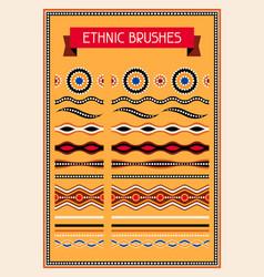 Ethnic pattern brushes australian traditional vector