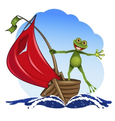 frog on a boat vector image