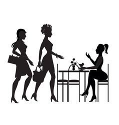 girls met in a cafe vector image