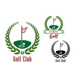 Golf club badg with ball on field vector image