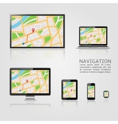 GPS map on display of modern digital devices vector image vector image
