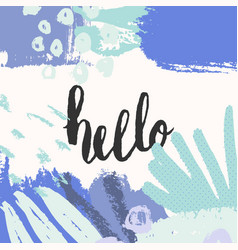Hand drawn abstract floral hello greeting card vector
