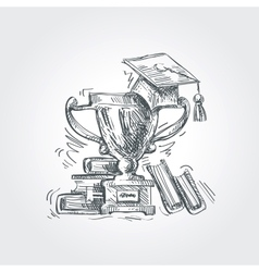 Hand drawn sketch education school vector
