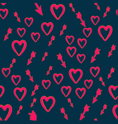 Heart with cupid arrows handdrawn seamless pattern vector