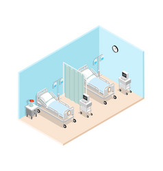 Hospital ward isometric interior vector
