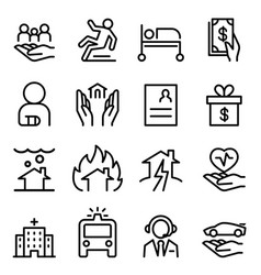 insurance icon set in thin line style vector image vector image