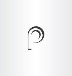 letter p black logo design vector image