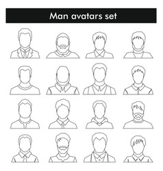 Man avatars set in black line style vector