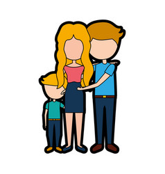 Married couple with son vector