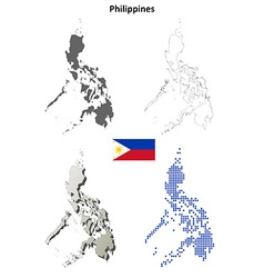 Philippines outline map set vector image