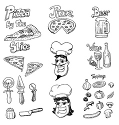 pizza doodles vector image vector image