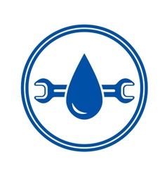 round icon with water drop and wrench vector image vector image