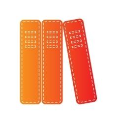 Row of binders office folders icon Orange vector image vector image