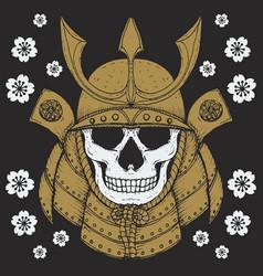 samurai skull vector image