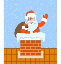 Santa claus with gifts sits in chimney on roof vector