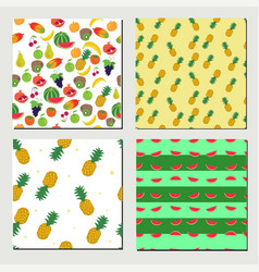 set of seamless fruit pattern vector image vector image