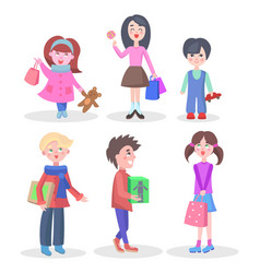 Shopping children flat characters set vector