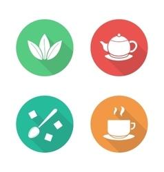Tea flat design icons set vector image vector image