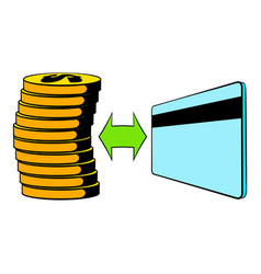 transfer of cash to card icon cartoon vector image