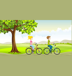 two people ride a bike through the countryside vector image vector image