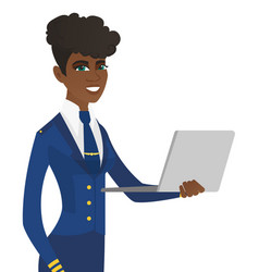Young african-american stewardess using laptop vector