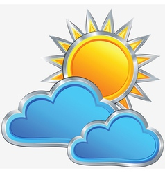 Weather icon with a sunny weather vector