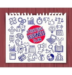 Doodle strategic business icons vector