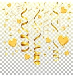 Gold streamer on transparent background vector