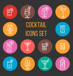 colorful cocktail thin line icons set vector image