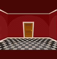 Cartoon empty room with a door in red style vector