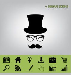 Hipster accessories design  black icon at vector