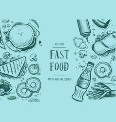 Fast food vintage hand drawn graphic design vector