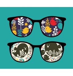 Retro sunglasses with reflection in it vector