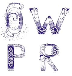 Hand-drawn letters o p r w vector