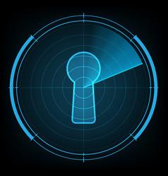 Technology radar screen security keyhole vector