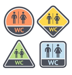 Restroom symbols set flat signs retro color vector